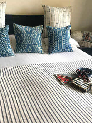 Makuami Charcoal Grey Cotton Linen Queen Size Dohar (82in x 54in)
