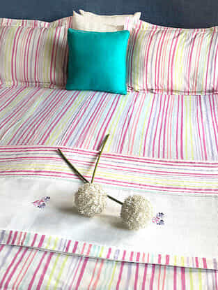 Mizuki Multicolored Cotton Double Dohars with Double Bedsheet and Pillow Covers (Set of 5)