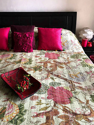 Jap Burberry Blossom Multicolored Cotton Double Bedcover With Kantha Work(108in x 90in)