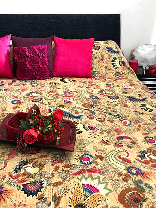 Jay Blossom Multicolored Cotton Double Bedcover With Kantha Work(108in x 90in)