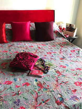 Jaey Blossom Multicolored Cotton Double Bedcover With Kantha Work(108in x 90in)