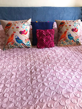Sasha Splendour Pink Hand Crafted Applique Cotton and Organza Bedcover (108 x 90)