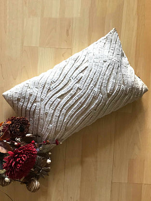 Pippa Luxe Off White Hand Crafted Silk Cushion Cover (20in x 12in)