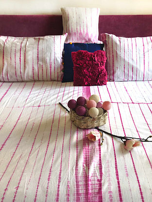 Jade Shibori Fuchsia and White Cotton Bedsheet Set (Set of 3)