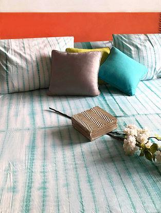 Jishara Shibori Turquoise and White Cotton Bedsheet Set (Set of 3)