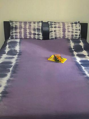 Jennet Mauve and Grey Cotton Bedsheet Set (Set of 3)