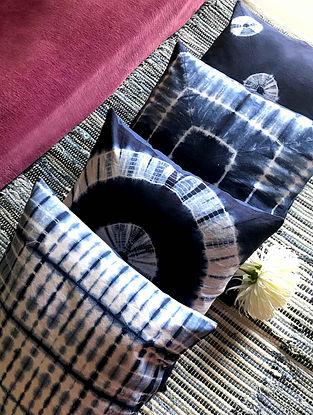 Jellen Shibori Indigo and White Cotton Cushion Covers (Set of 4) (16in x 16in)