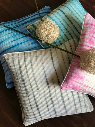 Jerina Shibori Multicolor Quilted Cotton Cushion Covers (Set of 4) (16in x 16in)