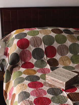 Jorn Red-Multicolor Kantha Cotton Double Bedcover (90in x 108in)