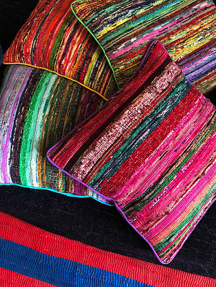Ekoniva Multicolor Handwoven Cotton Dhurrie Cushion Covers (Set of 4) (16in x 16in)