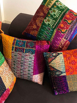 Estello Multicolor Patchwork and Kantha Patola Silk Cushion Covers (Set of 4) (16in x 16in)