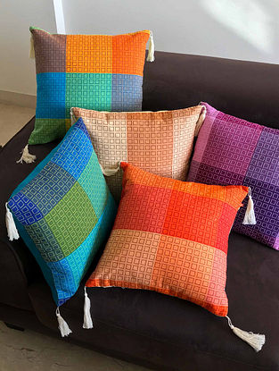 Ema Multicolor Cotton Cushion Covers (Set of 5) (16in x 16in)