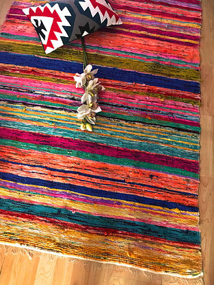 Clariana Multicolor Handwoven Upcycled Fabric Rug (4ft x 6ft)