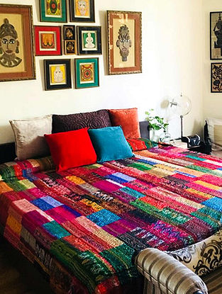 Jeffrey Multicolor Patchwork and Kantha Patola Silk Bedcover
