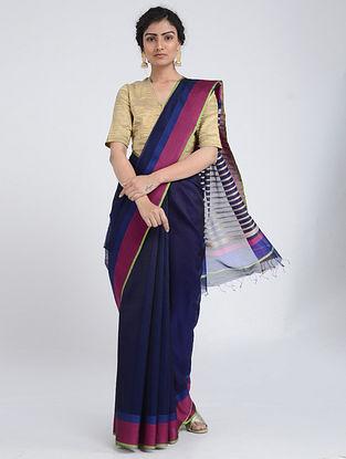 Blue-Pink Silk Cotton Saree