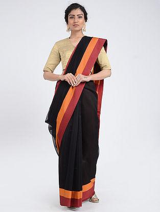 Black-Orange Silk Cotton Saree