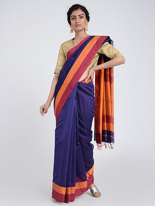 Blue-Orange Silk Cotton Saree