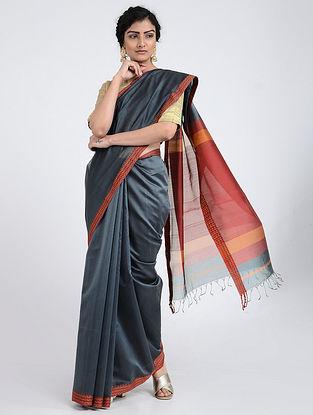 Grey-Red Silk Cotton Saree