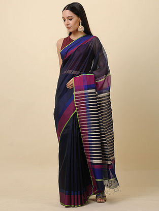 Black-Blue Handwoven Silk Cotton Saree