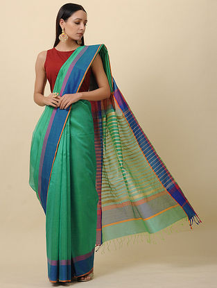 Green-Blue Handwoven Silk Cotton Saree