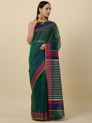 Green-Red Handwoven Silk Cotton Saree