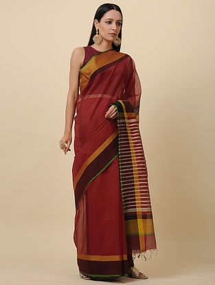 Red-Black Handwoven Silk Cotton Saree
