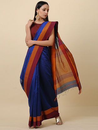 Blue-Maroon Handwoven Silk Cotton Saree