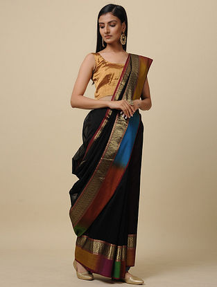 Black-Blue Handwoven Silk Cotton Saree with Zari