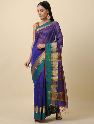 Blue-Green Handwoven Silk Cotton Saree with Zari