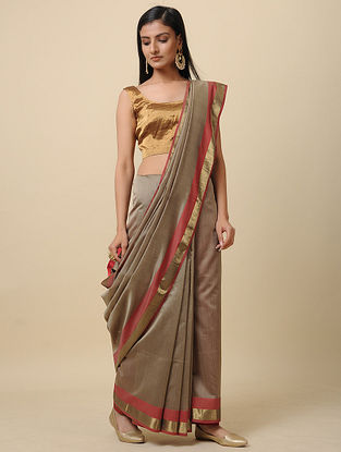 Grey-Red Handwoven Silk Cotton Saree with Zari