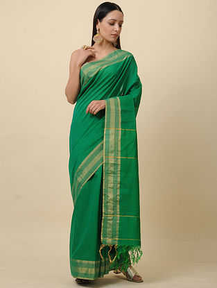 Green Handwoven Silk Linen Saree with Zari