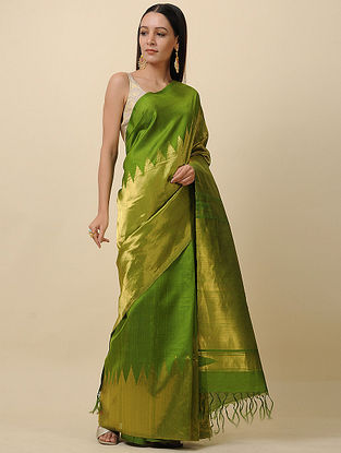 Green Handwoven Tissue Silk Saree with Zari