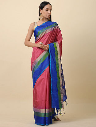Pink-Blue Handwoven Silk Saree with Zari