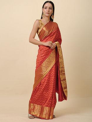 Pink Handwoven Silk Saree with Zari