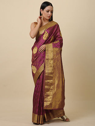 Purple Handwoven Silk Saree with Zari