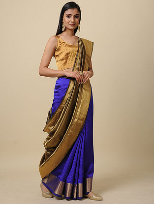 Blue Handwoven Silk Saree with Zari