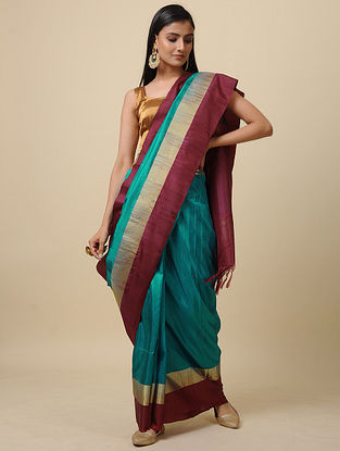 Blue-Maroon Handwoven Silk Saree with Zari