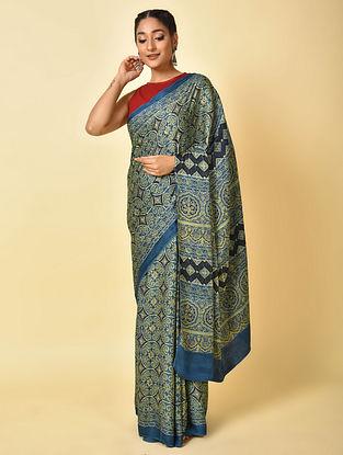 Blue-Green Ajrakh Printed Modal Silk Saree