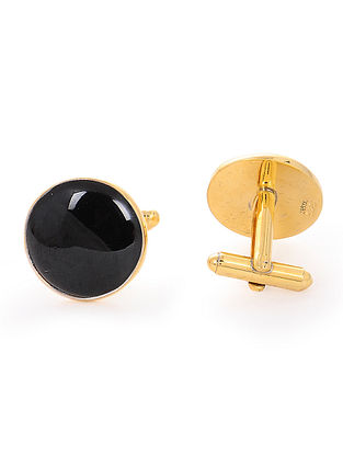 Black Enameled Gold-plated Silver Cufflinks