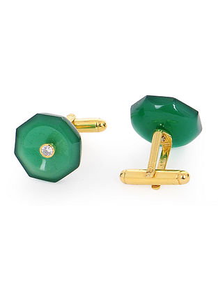 Green Onyx Gold-plated Silver Cufflinks