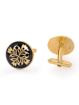 Black Enameled Hand-painted Gold-plated Silver Cufflinks