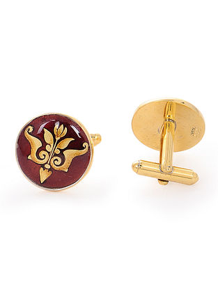Red Enameled Hand-painted Gold-plated Silver Cufflinks