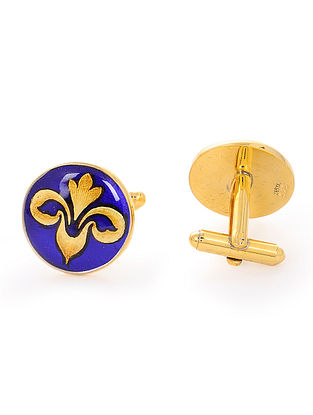 Blue Enameled Hand-painted Gold-plated Silver Cufflinks