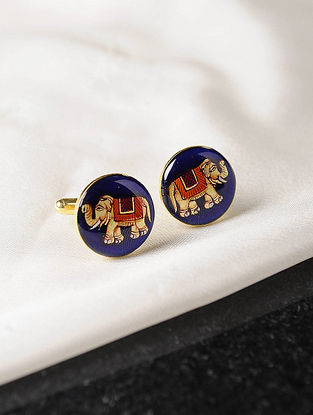 Multicolored Enameled Gold Tone Silver Cufflinks