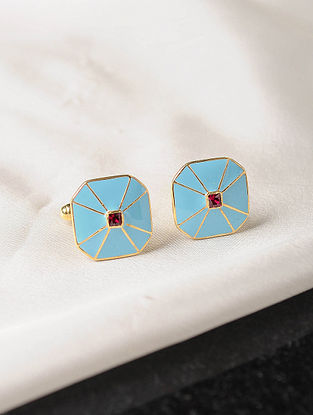 Turquoise Enameled Gold Tone Silver Cufflinks