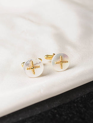 Mother of Pearl Gold Tone Silver Cufflinks
