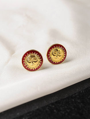 Red Enameled Gold Tone Silver Cufflinks