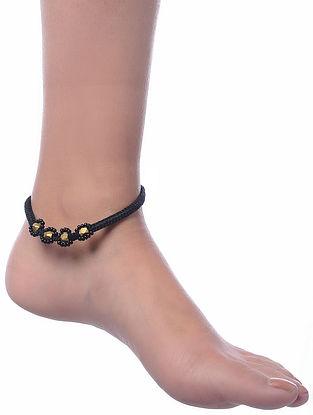 Black Gold Tone Dhokra Anklet