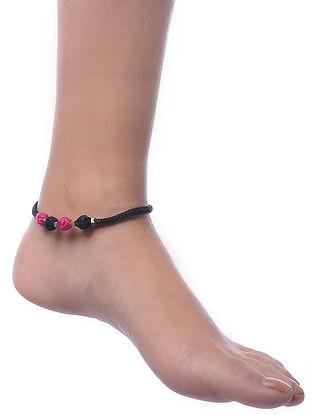 Black-Pink Gold Tone Dhokra Anklet