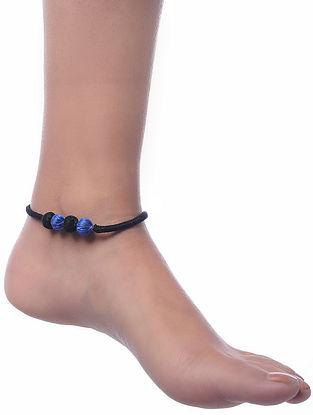 Black-Blue Dhokra Anklet